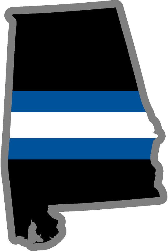 "5"" Alabama AL Thin Blue / White Line State Sticker Decal"