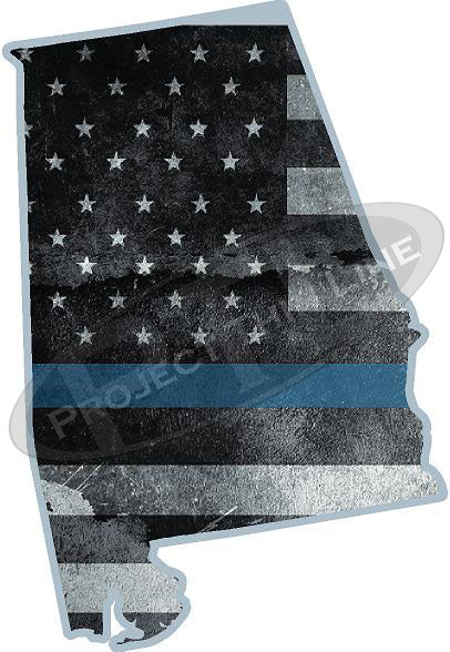 "5"" Alabama AL Tattered Thin Blue Line State Sticker Decal"