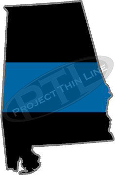 "5"" Alabama AL Thin Blue Line State Sticker Decal"