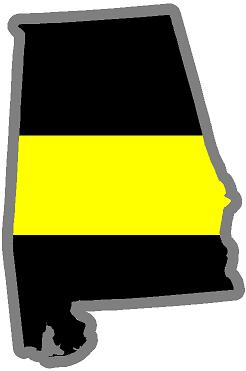 "5"" Alabama AL Thin Yellow Line State Sticker Decal"