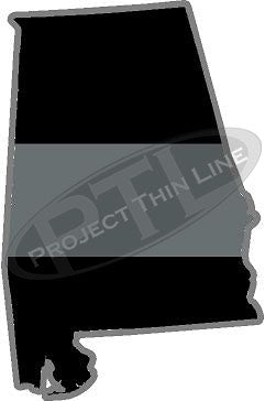 "5"" Alabama AL Thin Silver Line Black State Shape Sticker"