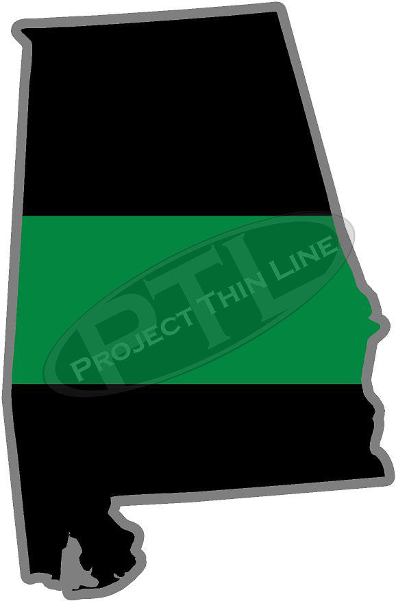 "5"" Alabama AL Thin Green Line Black State Shape Sticker"