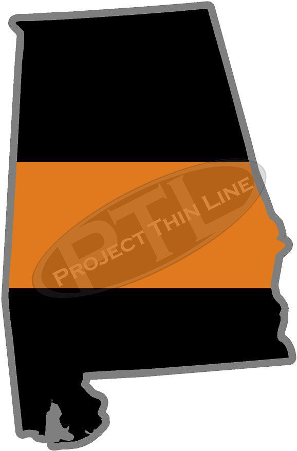 "5"" Alabama AL Thin Orange Line Black State Shape Sticker"