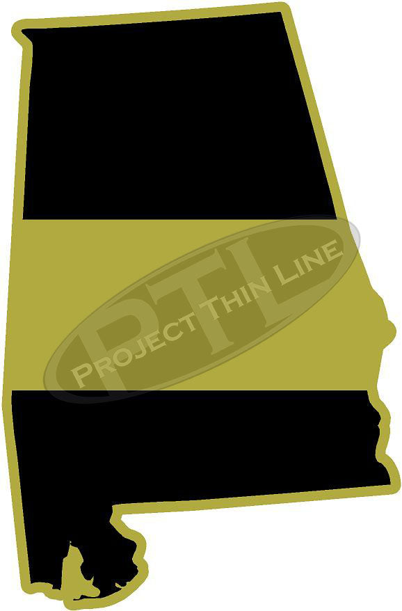 "5"" Alabama AL Thin Gold Line State Sticker Decal"