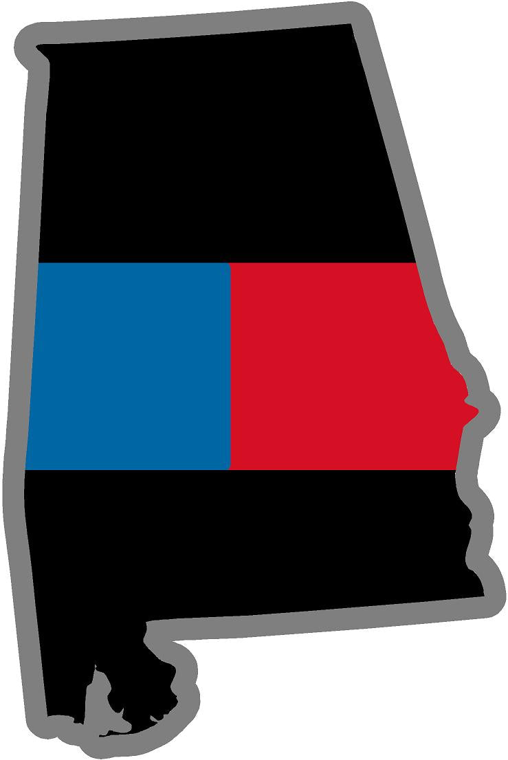 "5"" Alabama AL Thin Blue / Red Line State Sticker Decal"