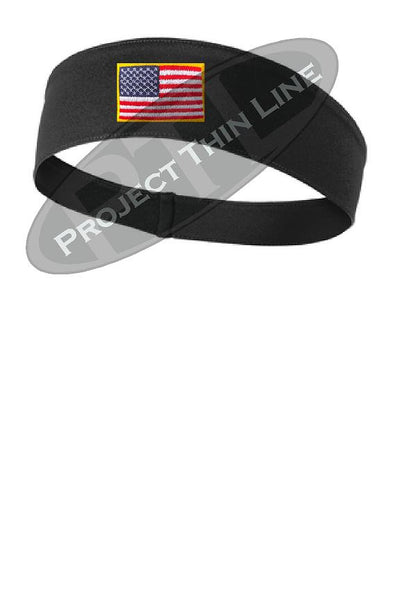 Black Moisture Wicking headband embroidered with the American Flag