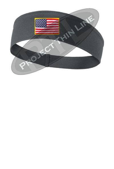 Grey Moisture Wicking headband embroidered with the American Flag