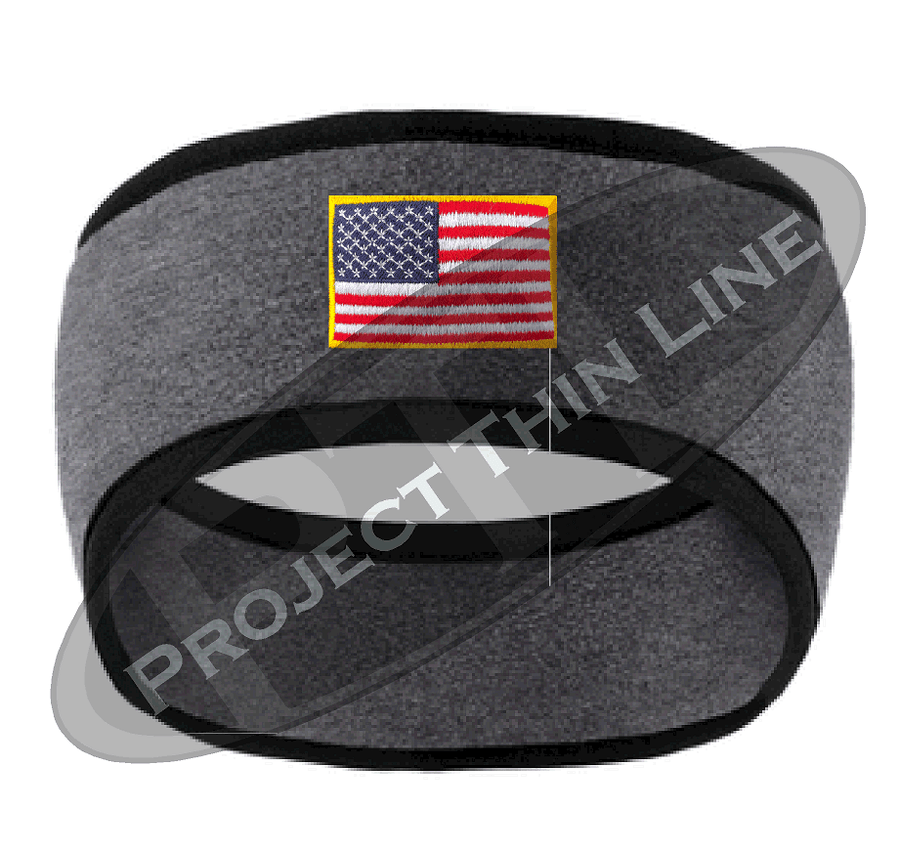 Navy Blue Fleece Headband Black Edging with Full Color American Flag