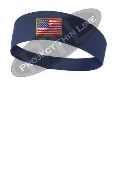 Navy Moisture Wicking headband embroidered with the American Flag