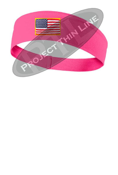 Pink Moisture Wicking headband embroidered with the American Flag
