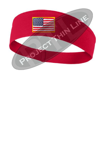Red Moisture Wicking headband embroidered with the American Flag