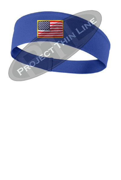 Royal Blue Moisture Wicking headband embroidered with the American Flag