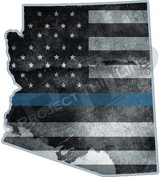 "5"" Arizona AZ Tattered Thin Blue Line State Sticker Decal"