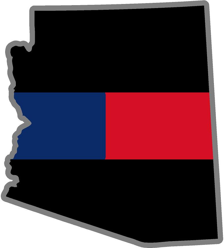 "5"" Arizona AZ Thin Blue / Red Line Black State Shape Sticker"