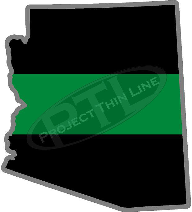 "5"" Arizona AZ Thin Green Line Black State Shape Sticker"