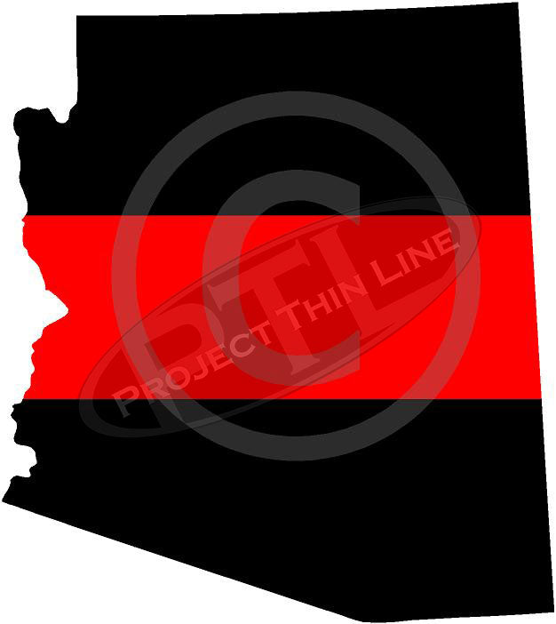 "5"" Arizona AZ Thin Red Line State Sticker Decal"