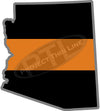 "5"" Arizona AZ Thin Orange Line Black State Shape Sticker"