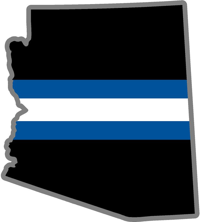 "5"" Arizona AZ Thin Blue White Line Black State Shape Sticker"