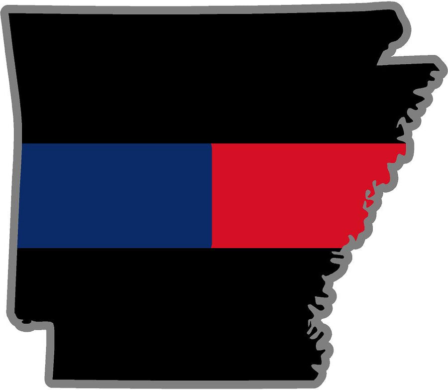 "5"" Arkansas AR Thin BLUE / RED Line Black State Shape Sticker"