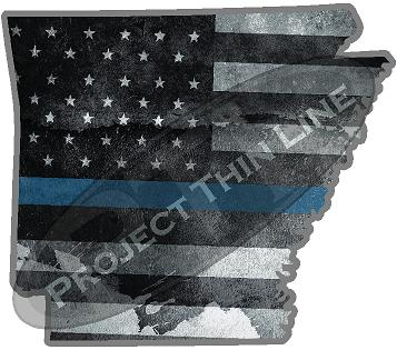 "5"" Arkansas AR Tattered Thin Blue Line State Sticker Decal"