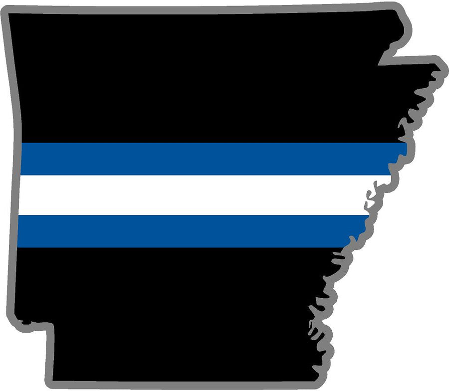 "5"" Arkansas AR Thin Blue White Line Black State Shape Sticker"