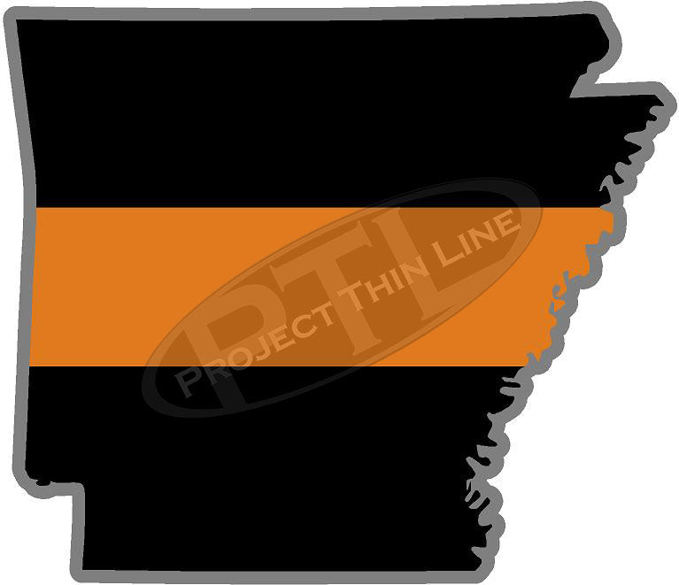 "5"" Arkansas AR Thin Orange Line Black State Shape Sticker"