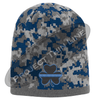 Blue Camouflage Hat with Black Shamrock and Thin Blue Line design