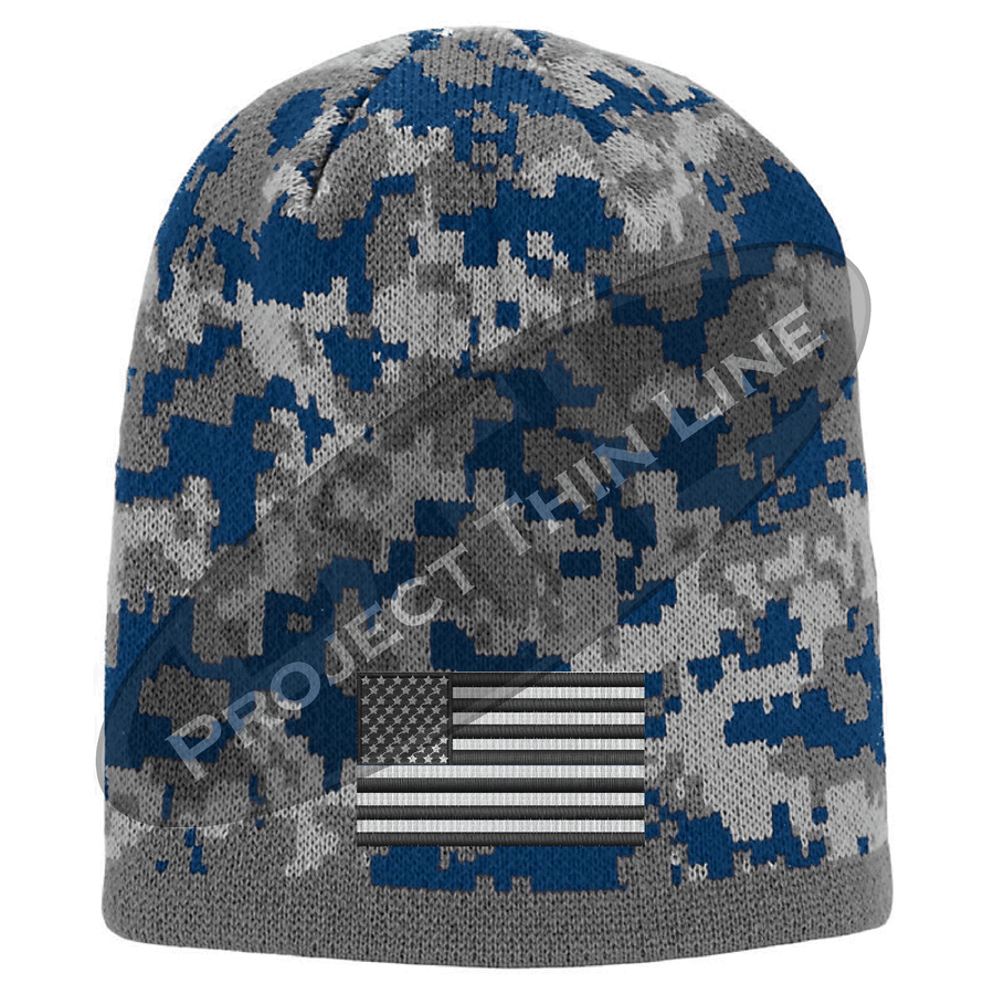 Blue Camouflage TACTICAL FLAG Skull Cap