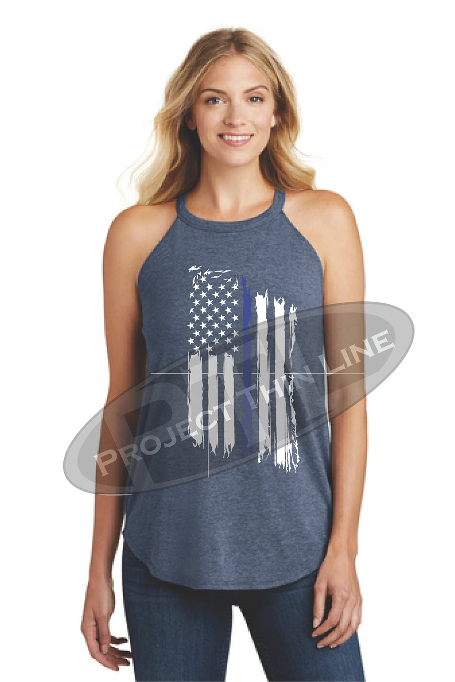 Black Tattered Thin Blue Line American Flag Rocker Tank Top - FRONT