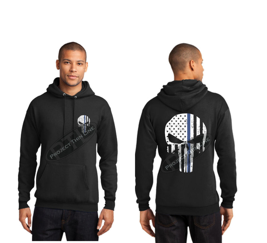 BLACK Thin BLUE Line Tattered Skull Hooded Sweatshirt