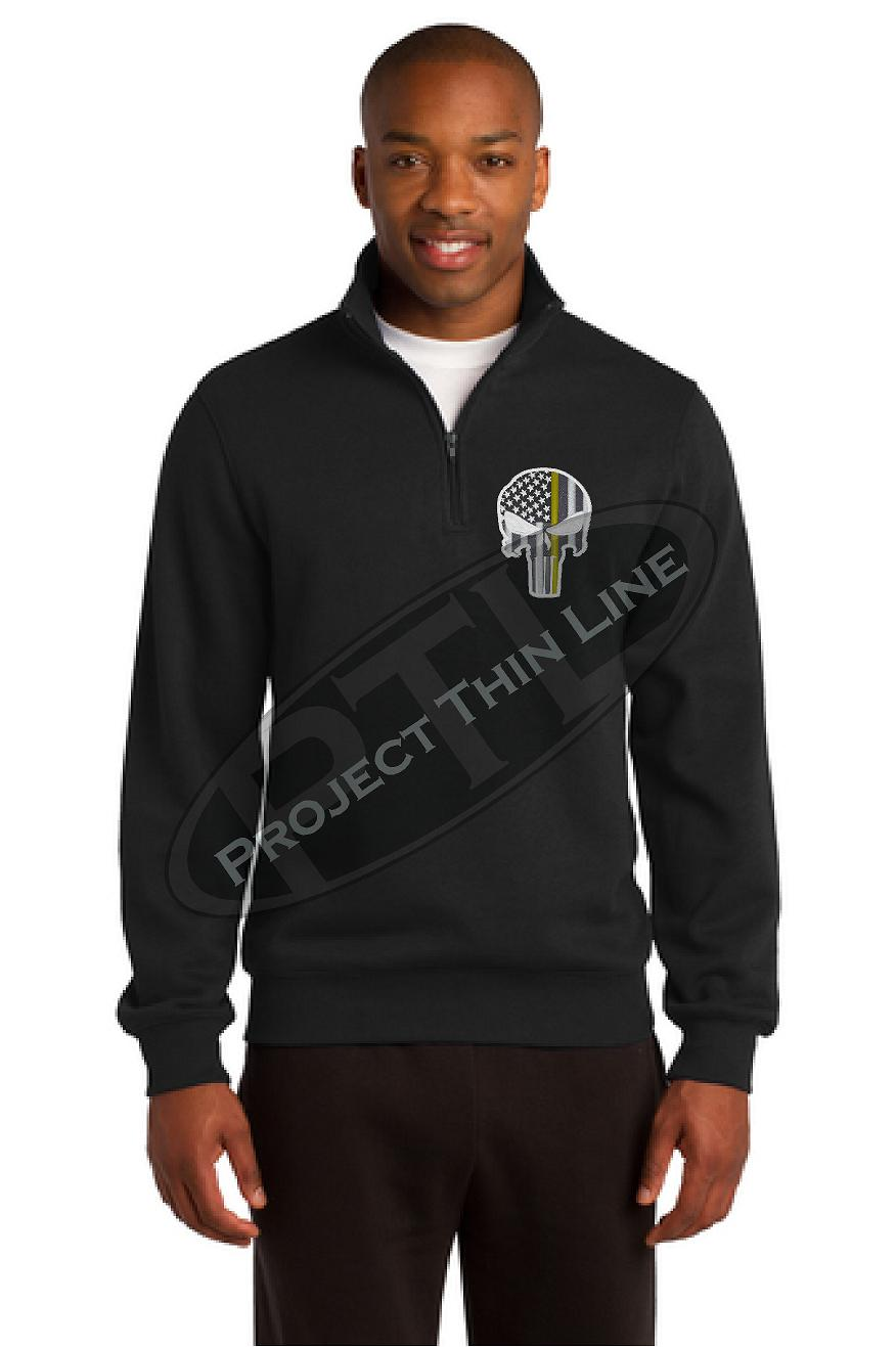 Black Thin Yellow Line Punisher Skull 1/4 Zip Fleece Sweatshirt