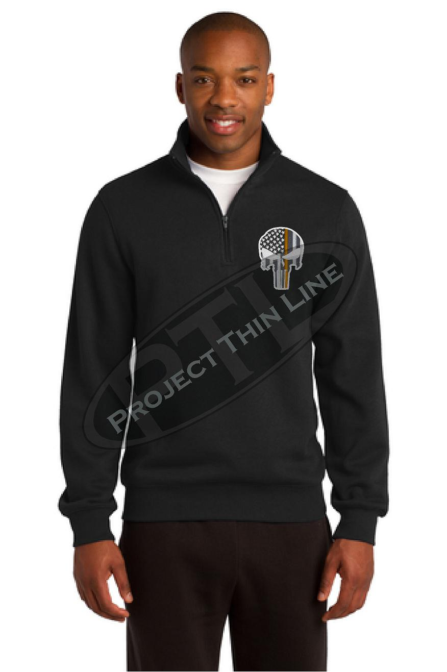 Black Thin ORANGE Line Punisher Skull 1/4 Zip Fleece Sweatshirt