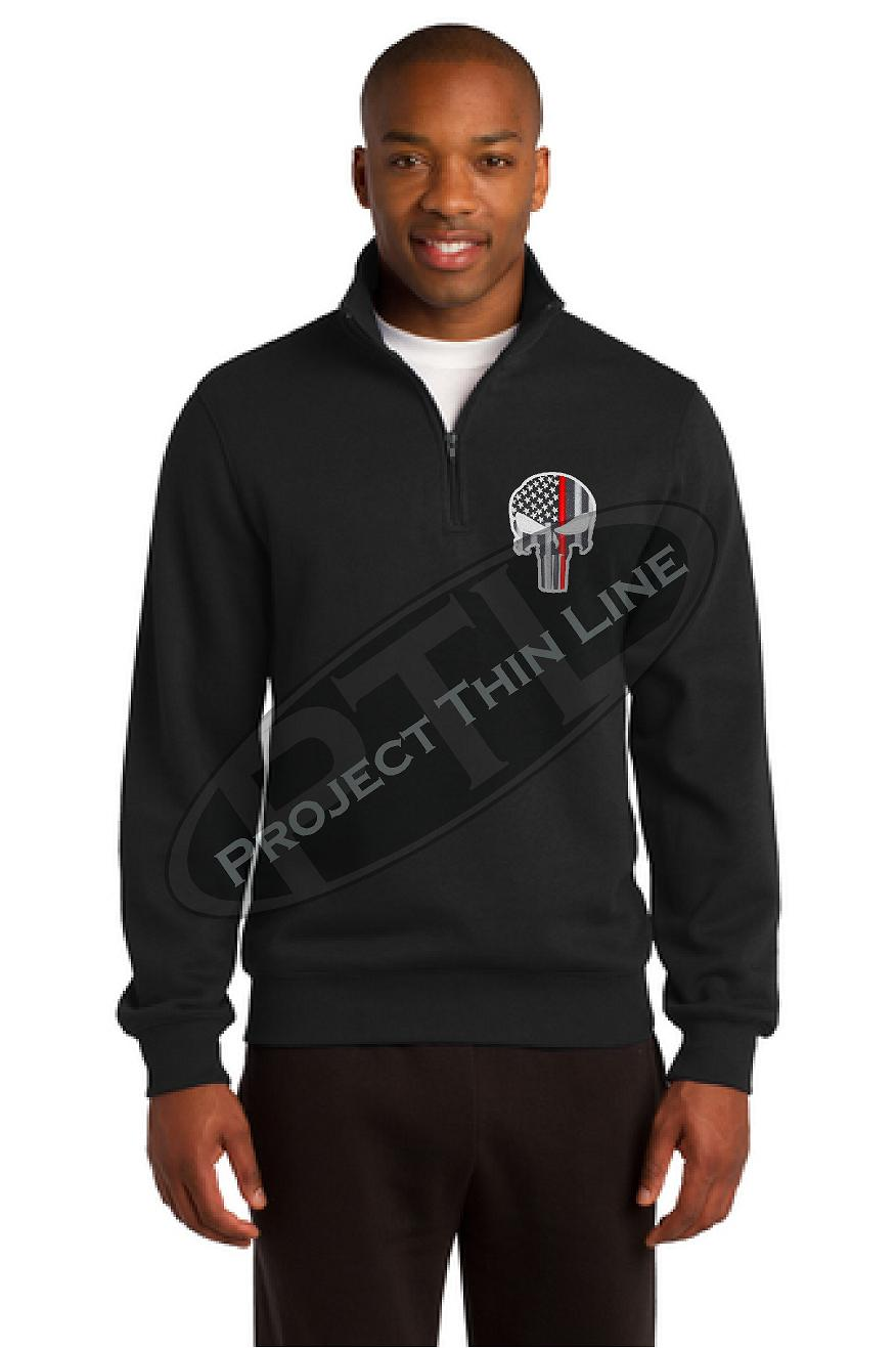 Black Thin Red Line Punisher Skull 1/4 Zip Fleece Sweatshirt