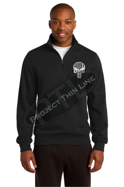 BLACK Embroidered Thin Silver Line Skull Punisher inlayed with American Flag 1/4 Zip Fleece Sweatshirt