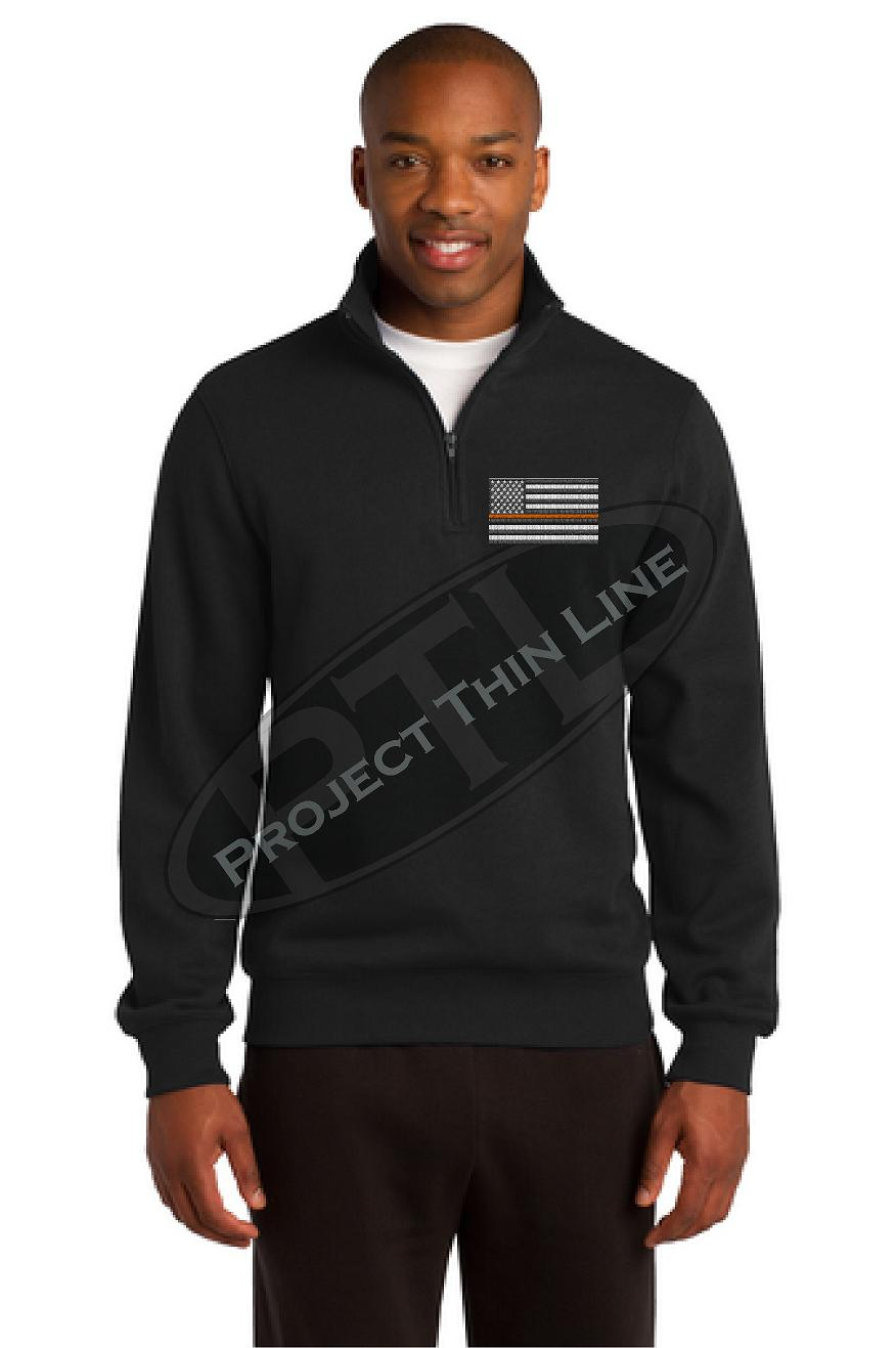Grey Embroidered Thin ORANGE Line American Flag 1/4 Zip Fleece Sweatshirt