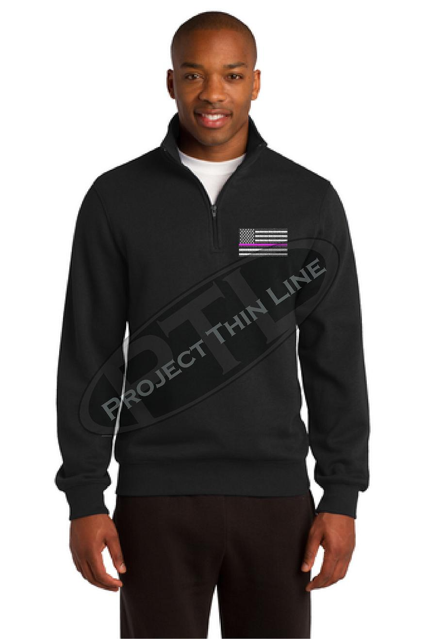 Grey Embroidered Thin Pink Line American Flag 1/4 Zip Fleece Sweatshirt