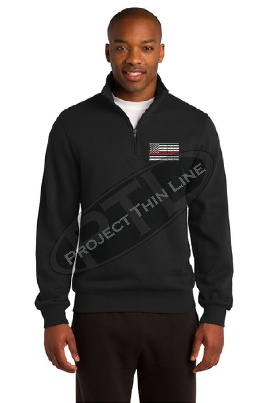 Grey Embroidered Thin Red Line American Flag 1/4 Zip Fleece Sweatshirt