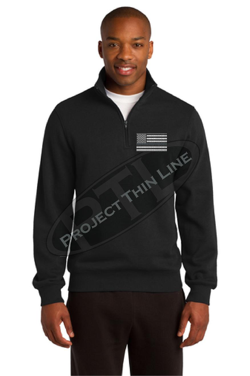 Grey Embroidered Thin Silver Line American Flag 1/4 Zip Fleece Sweatshirt
