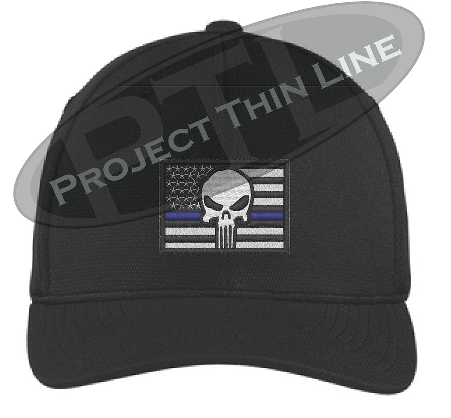 d688ae5005ba9 Embroidered Thin Blue American Flag - Punisher Flex Fit Fitted Baseball Ha
