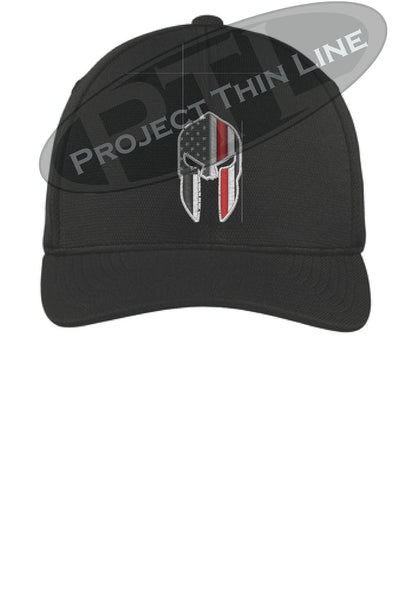 Black Flex Fit Hat Spartan Helmet with Thin RED Line