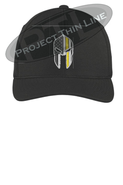 Black Thin YELLOW Line Spartan inlayed with the American Flag Flex Fit Fitted Hat