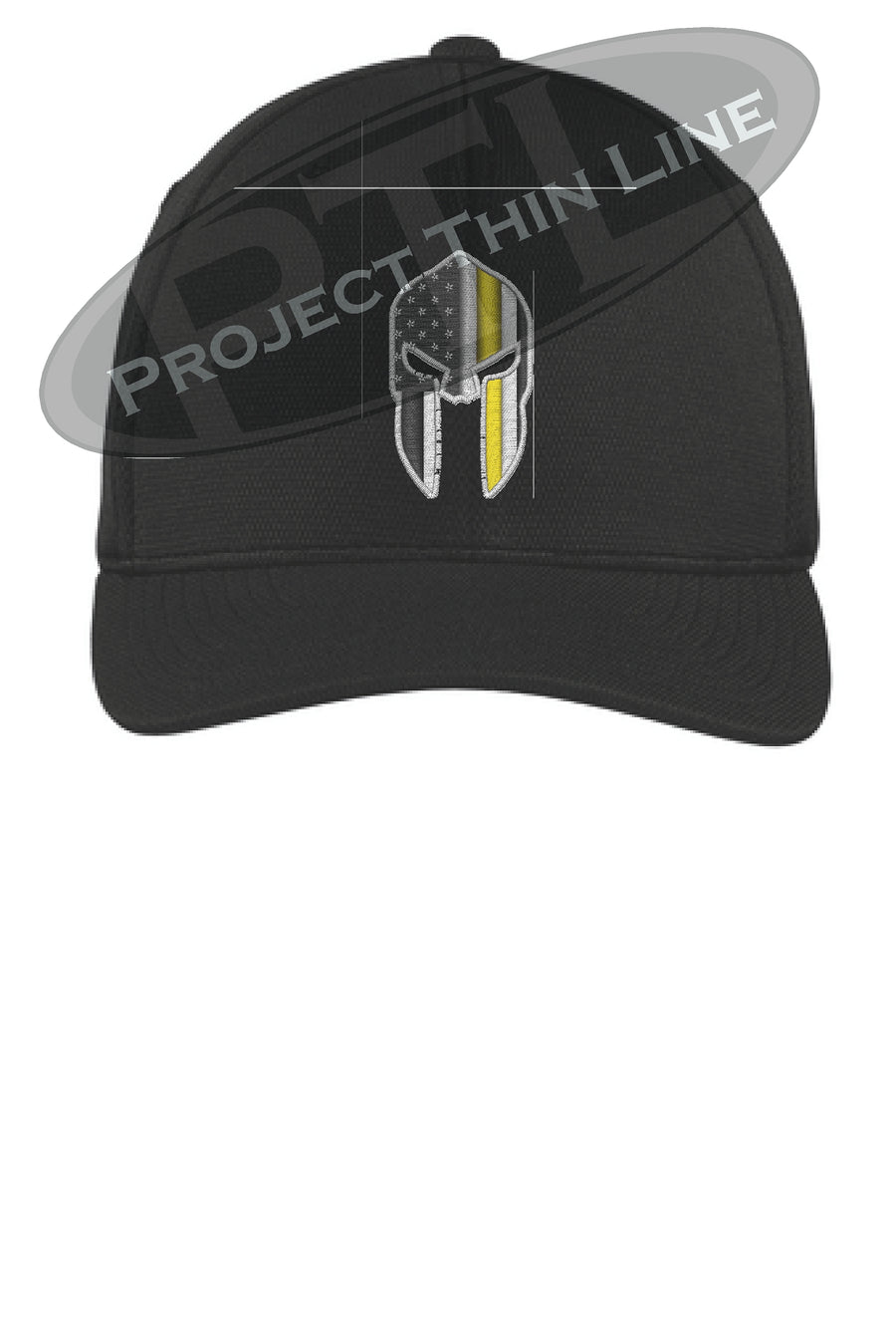 Black Thin YELLOW Line Spartan inlayed with the American Flag Flex Fit Fitted  Hat 2209a31eb2b