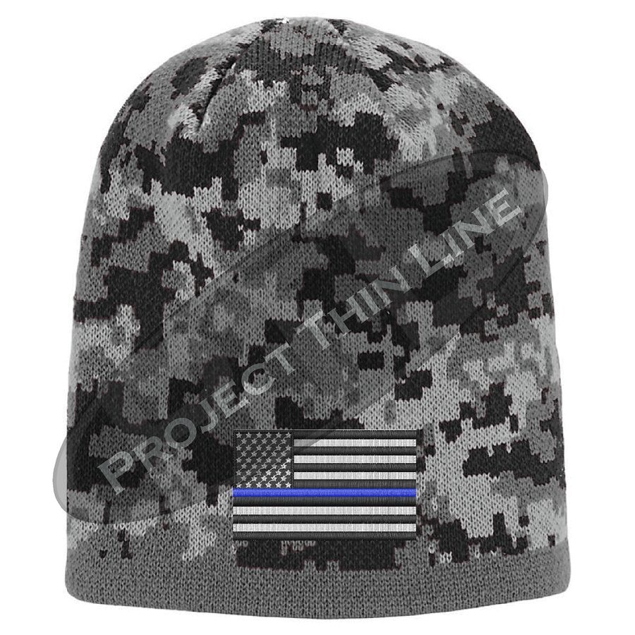 BLACK Camo with Thin Blue Line subdued American Flag