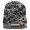 Black Camouflage  Skull Cap with embroidered Subdued Thin BLUE / RED Line American Flag