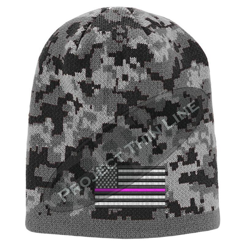 Black Camo subdued Thin Pink Line American Flag