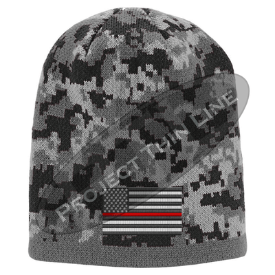 Black Camo subdued Thin Red Line American Flag