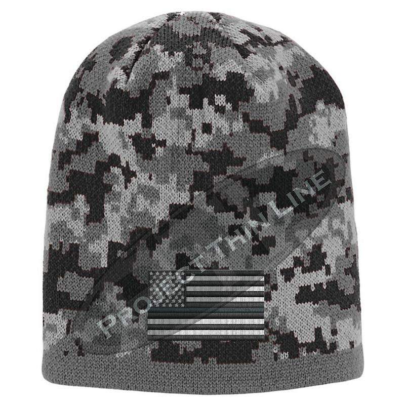 Black Camo skull cap embroidered with Subdued Thin Silver Line American Flag