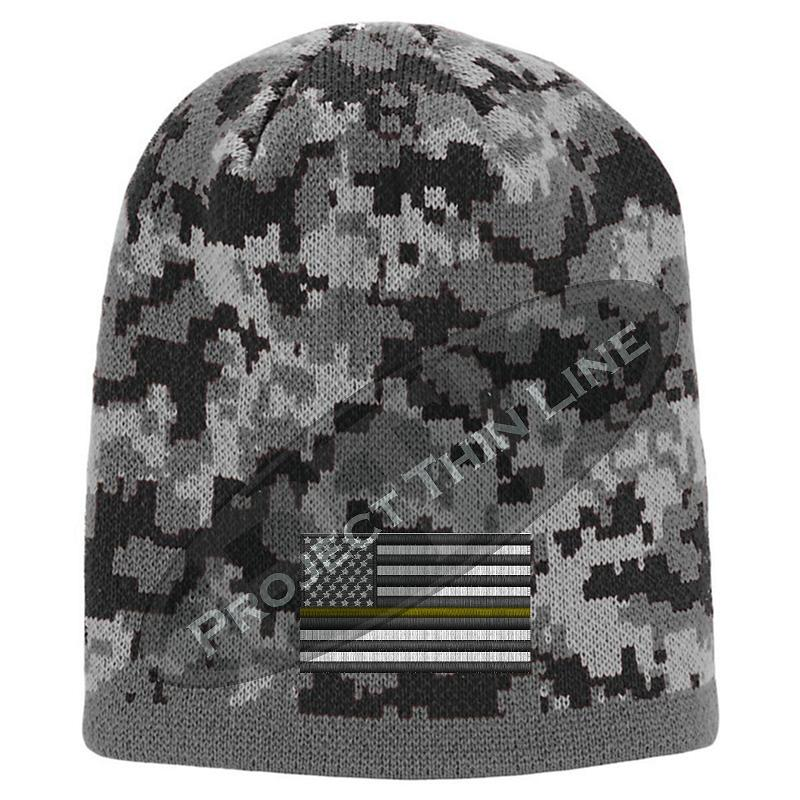 Black Camo skull cap embroidered with Subdued Thin YELLOW Line American Flag