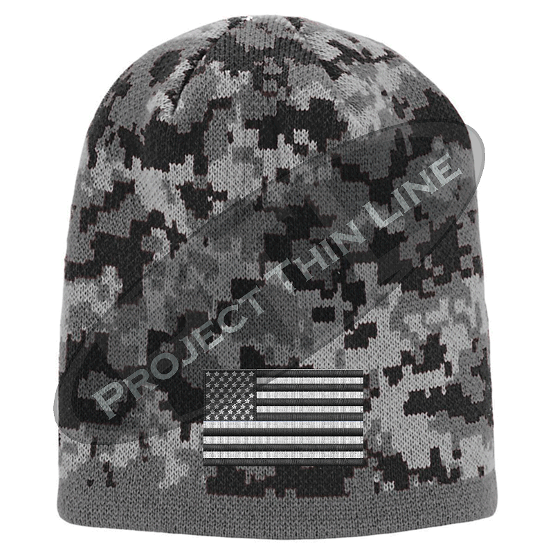 Black Camouflage Embroidered Tactical Subdued American Flag