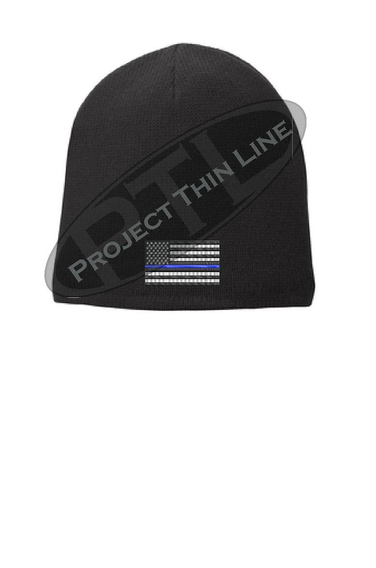 Black Thin Blue Line American Flag FLEECE LINED Skull Cap